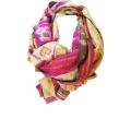 Vintage Sari Scarf (L) - Cute Pink Heart Print