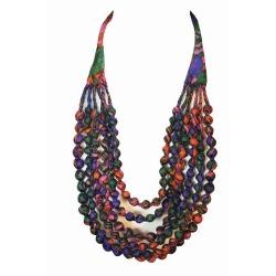 House of Wandering Silk - Vintage Silk Necklace (Purple & Pink)