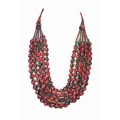 House of Wandering Silk - Vintage Silk Necklace (PInk & Blue Floral)