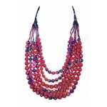 House of Wandering Silk - Vintage Silk Necklace (Crimson Pink & Purple)