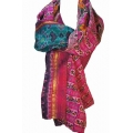 Vintage Sari Scarf (L) - Hot Pink & Teal Blue Floral
