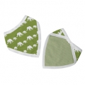 Single-coloured silhouettes bib - Green Elephants