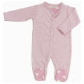 Soft Pink Stripe all-in-one (0-3 mths)